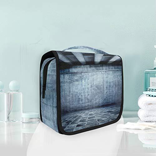 Make-up cosmetische tas blauwe kamer met betonnen balk plafond draagbare opslag reizen toilettas