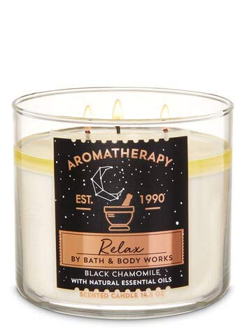 White Barn BBW Aromatherapy Relax Black Chamomile 3-Wick Candle 2019
