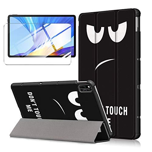 LJSM Custodia + Vetro Temperato per Samsung Galaxy Tab A7 2020 10.4  T505   T500  T507 - Pellicola Protettiva, Guscio Supporto Protettiva Tablet Cover in Pelle Flip PU Case - Eyes