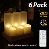 Rechargeable Flameless Candles Tea Light CanFlameless Candles Tea Light Candle with Remote Control LED Flickering Timer Votive Electric Night Lamps Decorative Fake Candles Realistic Tealights (6 Pack)