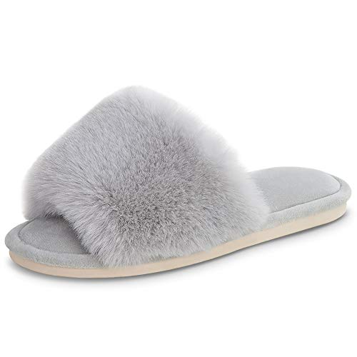Women's Fuzzy Faux Fur Slippers $10.99 (50% Off with code)