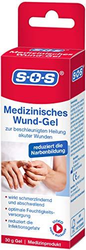 SOS Medizinisches Wund-Gel, zur Befeuchtung akuter Wunden für eine beschleunigte Wundheilung, Wundversorgung mit reduzierter Infektionsgefahr schmerzlindernder und abschwellender Wirkung, 1 x 30g Tube