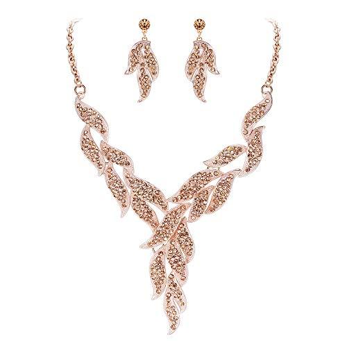 EVER FAITH Parure Gioielli Donna Cristallo Matrimonio Florale Foglia Vite Collana Orecchini Set Colore Champagne Rosa Oro-Fondo