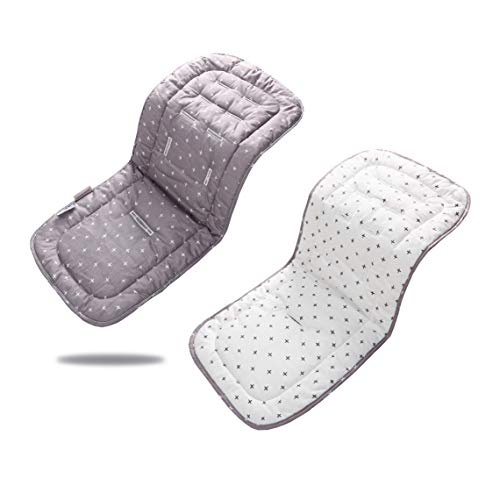Baby Stroller Liner 32x 80 cm Soft & Reversible Pushchair Pad Cotton Stroller Car Seat Liner Pram Insert Portable Changing Pad, Universal Cover Pushchair Infant Cushion Pad(White Gray Cross)