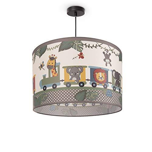 Paco Home Luminaria Infantil De Techo LED Suspendida Dormitorio Infantil Tren Animales E27, Pantalla de lámpara:Verde (Ø45.5 cm), Tipo de lámpara:Lámpara Colgante Negro