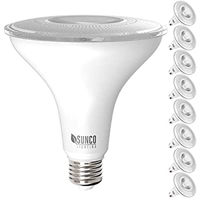 Sunco Lighting 8 Pack PAR38 LED Bulb 13W=100W, 4000K Cool White, 1050 LM, Dimmable, Indoor/Outdoor Spotlight, Waterproof - UL & Energy Star Listed