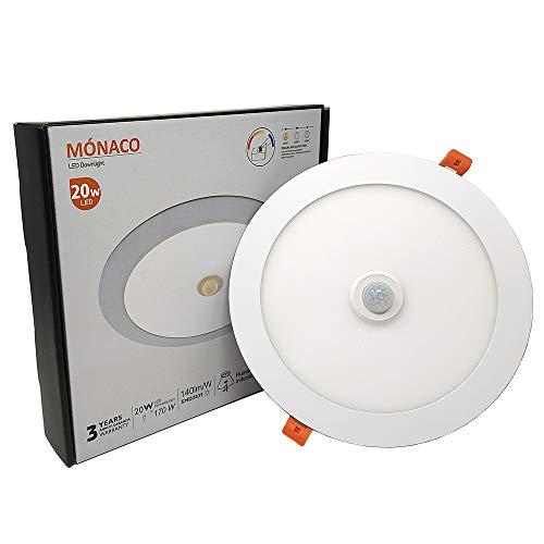 FactorLED Downlight Circular LED Techo con Sensor de Movimiento 20W, Panel Redondo Empotrable con Detector de Presencia, Placa Slim OSRAM chip, Ø225 x 25 mm, Lámpara luz fría 6000K