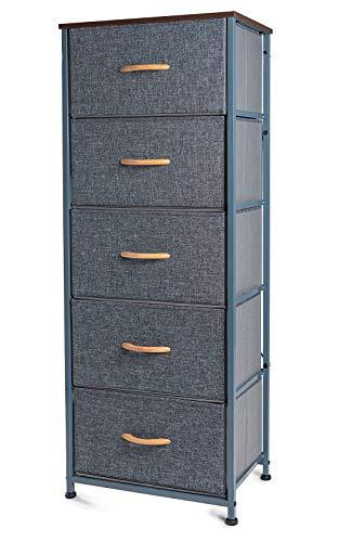 Zedelmaier Schubladenschrank für Schlafzimmer mit 5 Schubladen aus Stoff Aufbewahrungs, Kommode Schmal aus Metallgestell 45 x 30 x 116.5 cm Grau