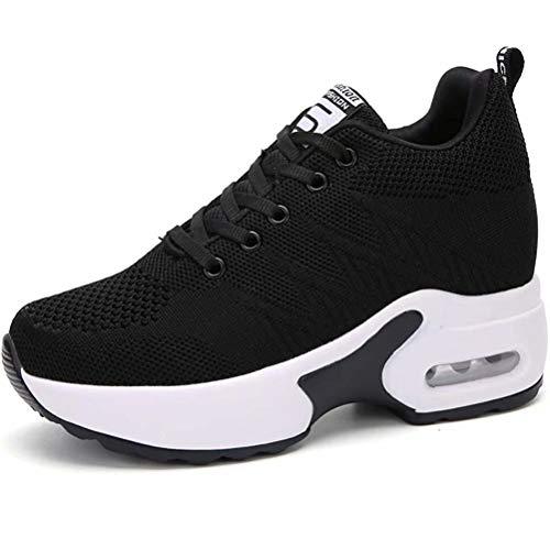 AONEGOLD Zapatillas de Deporte Transpirables Mujer Zapatillas de Cuña para Alta Talón Plataforma 8.5 cm Wedge Sneakers 2786 Negro 37 EU