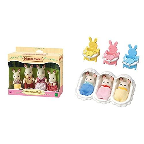 Sylvanian Families 4150 Familia Conejo Chocolate + 5532 Habitación De Los Trillizos