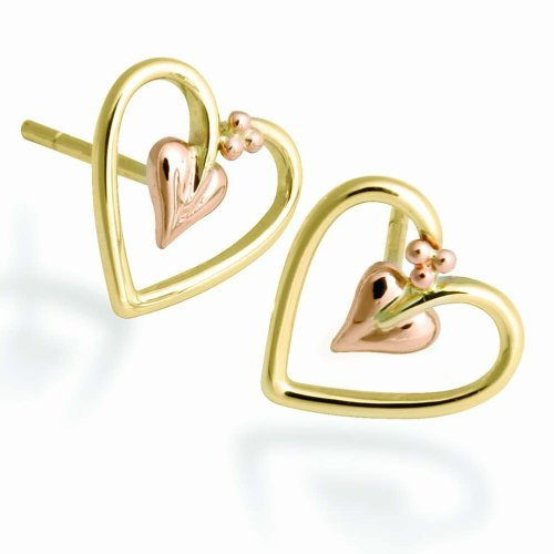 Clogau Gold 9ct Yellow Rose Gold Bleeding Hearts Earrings