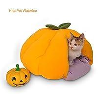 Hrtc カボチャソフト温かい猫の犬のネストベッドペット寝袋 - 猫のためのペットの洞窟のベッド猫のための猫のベッド、テント自己温かい猫のための寝床フリースFoldableイエロー、2つのサイズ (オレンジ M)