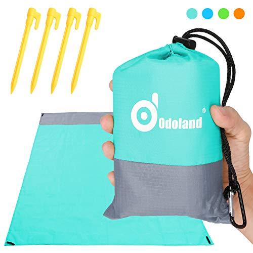 Odoland Picknickdecke Stranddecke Wasserdicht 200 * 140 cm mit 4 Heringen Ideal für den Park Wandern Reise und Camping Hellblau