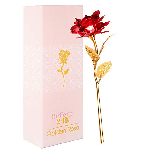Beferr 24k Gold Galaxy Rose Artificial Forever Rose Flower, Infinity Rose Gift for Her...