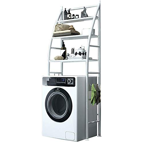 JIAJBG Estantería para lavadora con soporte fijo para pegatinas de baño, ahorro de espacio, con pie de ajuste