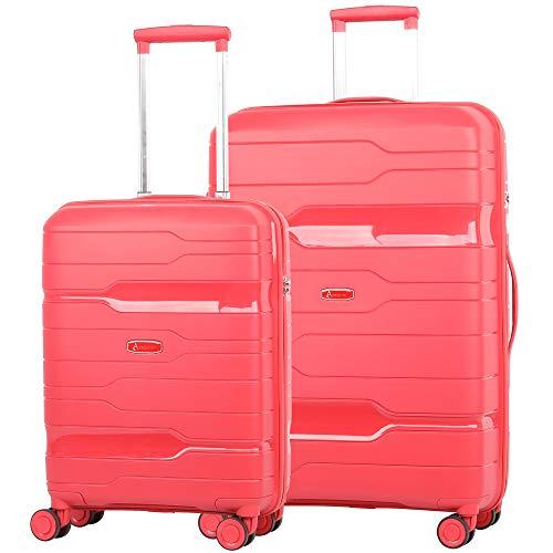 Aerolite PP775 Premium Hard Shell 8 Wheel 21' Hand Cabin + Large 28' Hold Check in 2 Piece Luggage Suitcase Set, 3 Digit TSA Combination Lock, Merlot