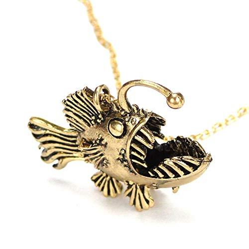 VAWA Seeteufel Halskette Bronze Anhänger großer Anhänger Fisch Schmuck unheimlich Laterne Monster der Tiefe 23-Zoll-Kette