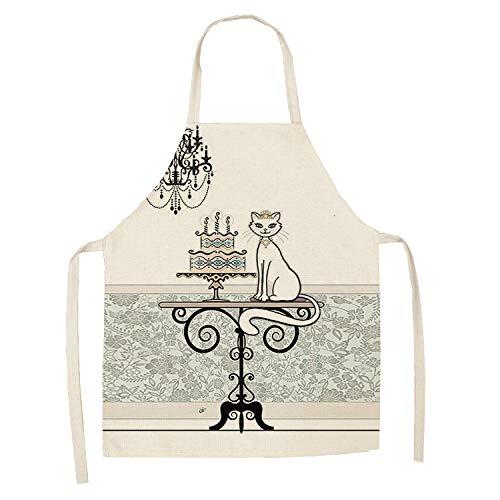 LIUKLAI 1 lindo delantal de cocina con patrón de gato para mujer, babero de lino de algodón, limpieza del hogar, delantal de cocina para el hogar-7_47x38cm