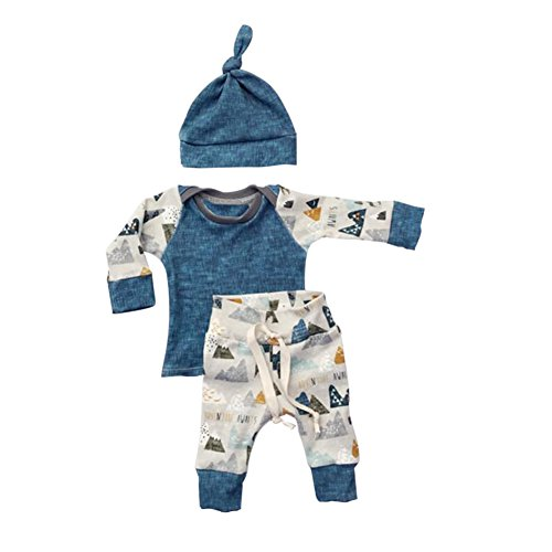 ESHOO Neugeborenes Baby-langes Hülsen-T-Shirt + Hosen + Hut 3pcs Outfits Set