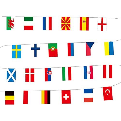 Campeonato de Europa de fútbol Bunting, 2021 Euro Fútbol Banner, 24 banderas de las Naciones Bunting para Eurovisión decoración del partido, bares, clubes deportivos, festivales escolares