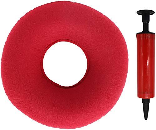 Cuscino ortopedico rotondo con pompa per infiammazione, coccige, gravidanza, parto (rosso)