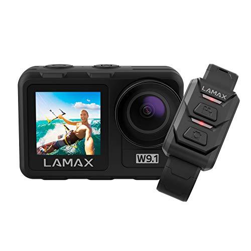 LAMAX Cámara de acción W9.1, cámara subacuática, 4K 60 fps, videocámara con doble pantalla, estabilización, 2 baterías y 21 accesorios, Wi-Fi, cámara lenta