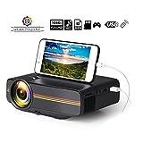 Tragbarer Mini-Videoprojektor/Unterstützt HD 1080P HDMI-Eingang/Unterstützt HDMI-, VGA-, AV-, USB-, SD- / Mini-Filmprojektor für Heimkino/Reiseunterhaltung,Schwarz
