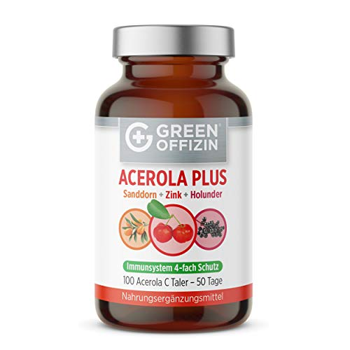 Acerola Vitamin C Taler Hochdosiert I Natürliches Vitamin C aus Acerola Kirsche + Holunder + Sanddorn + Zink I Immunsystem stärken - 100 Lutschtabletten
