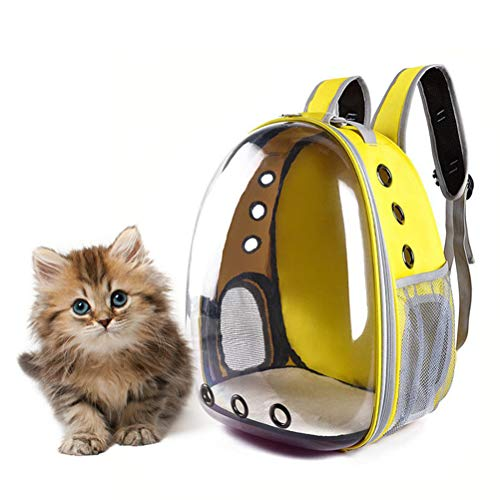 POPETPOP Portable pet cat dog puppy backpack carrier bubble 360 degree transparent space capsule backpack (yellow)