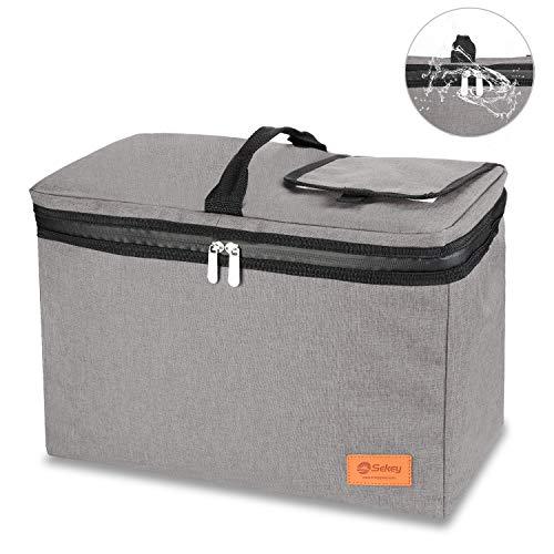 Sekey 24L Kühltasche, Thermotasche, isolierte Picknicktasche mit wasserdichtem Reißverschluss für Picknick/Camping/Sportveranstaltungen, passend für alle Faltwagen, grau