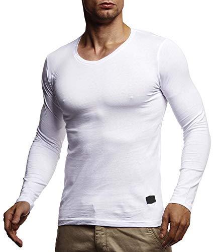 Leif Nelson LN8372 T-shirt basique à manches longues et col en V pour homme - Blanc - Large