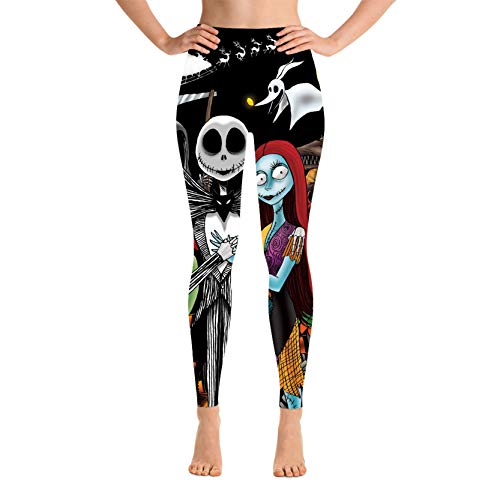 Reneealsip The Nightmare Before Christmas Yoga Pants for Women High Waist Stretch Women Leggings for Workout Training Running Large