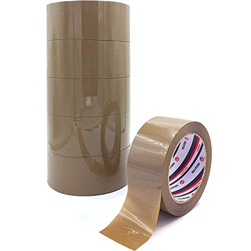 ZCENTER 6 Rollos Cinta Embalar 48MMx100M Cinta embalaje Cinta adhesiva Celo Marrónpara Cajas y Paquetes-Color Marrón