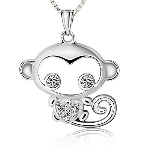 FashLOVE 925 - Collar con colgante de mono, 19,5 x 19,5 mm, plata 925