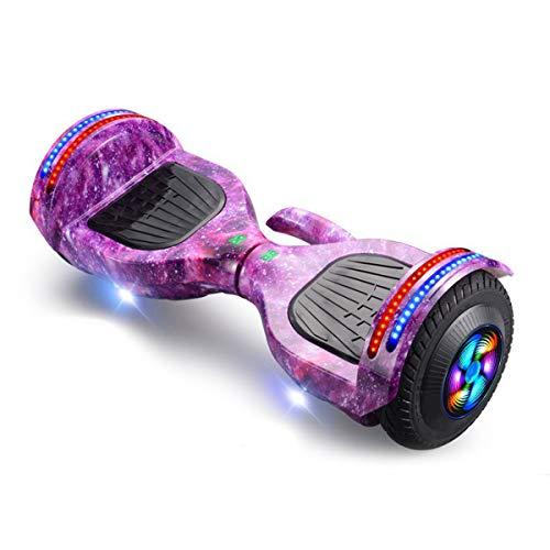 GEQWE Patinete Eléctrico 8 Pulgadas Self Blance Scooter Diseño Portátil Agregado con Luces LED Bluetooth Modelo Regalo para Niños Y Adultos+ Un Conjunto De Equipo De Protección,Púrpura