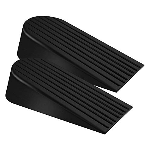 Big Door Stopper 2 Packs Heavy Duty Wedge Rubber Door Stop Works on All Floor Surfaces Height up to 1.9 Inches Non-Scratching Doorstops Special for Home Office School Heavy Door
