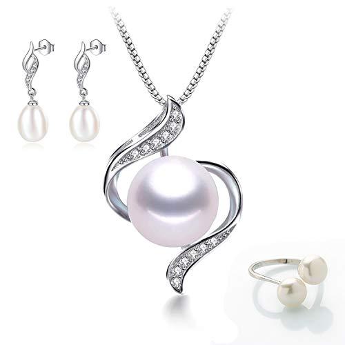 Juego de Joyas para Mujer Colgante Pendientes y Anillo de Plata y Perlas de Agua Dulce.Conjunto de Joyas con Perlas Naturales de 8-9mm y Plata 925