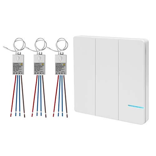 3-Wege Lichtschalter Funkschalter Set, Funk Schalter Wasserdicht Funk Wandschalter, Außen 600M,Drinnen 40M Ferngesteuert,Drahtloser kinetischev Energie Schalter mit Empfänger