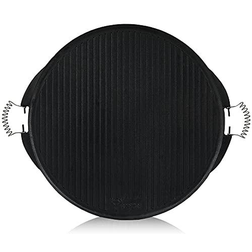 BBQ-TORO Plancha Grill I con Asas I Hierro Fundido I Redonda I Doble Cara I Esmaltada I Barbacoa Gas I Bola (Ø 53 cm)
