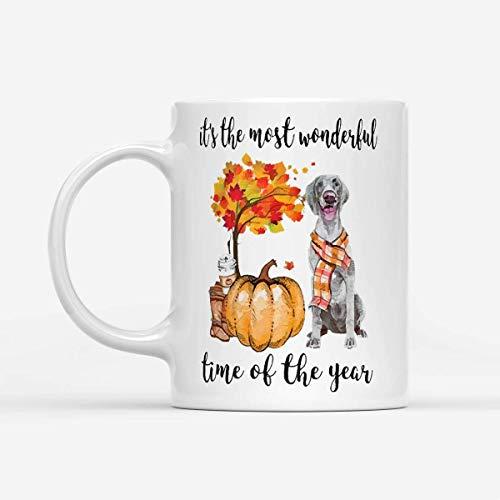 N\A Fall Pumpkin It 's The Most Wonderful Time of The Year Labrador Amarillo - Taza de café Blanca de 11 oz