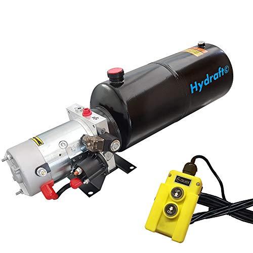 Hydraulikaggregat HYDRAFT, Hydraulikpumpe 12 V 180 bar 2000 Watt mit 10 Liter Stahtank und Kabelfernbedienung