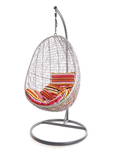 Kideo Juego completo: sillón colgante con cojín y estructura, muebles de salón para interior y exterior, moderno SwingChairs, (gris, cojín Chesterstepp (cojines: rayas multicolor (3450 lollipop))