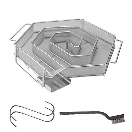 riijk Kaltrauchgenerator zum Kalträuchern im Smoker, Grill usw. | Räucherschnecke 6 eckig – Sparbrand Kaltraucherzeuger | Räucherspirale für Räucherspäne | Gratis Haken und Bürste