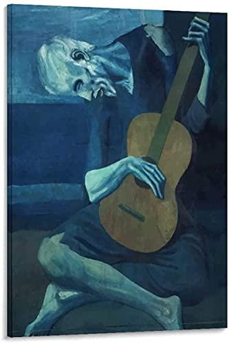 WLHRJ Cuadro en lienzo de 30 x 50 cm, sin marco, el viejo guitarrista Picasso Art Poster Decor Canvas Art Art Art Art Art Póster de la pared de la sala de estar carteles dormitorio pintura