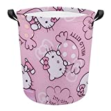 Laundry Baskets Hello Kitty with Candy (2) Collapsible Waterproof Cotton Linen Foldable Laundry Hampers Storage Bin Organizer Baskets with Handles