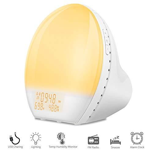 Wake Up Licht, GOAMZ Lichtwecker Tageslichtwecker Wecker Sonnenaufgang Simulation, 7 Farben LED Wecker Licht USB Ladeschnittstelle mit Snooze Funktion, FM Radio Digitaluhr mit Licht Thermo-Hygrometer