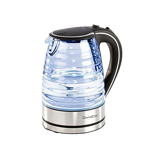 Kabelloser Wasserkocher Glas Edelstahl mit Hintergrund-Beleuchtung 1,7 Liter (Starke 2000 Watt, Wasserstandsanzeige, Antikalk-Filter, Schwarz)
