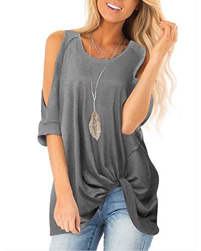 Amoretu Womens Cold Shoulder Knot Twist Front Tops Shirts Blouse