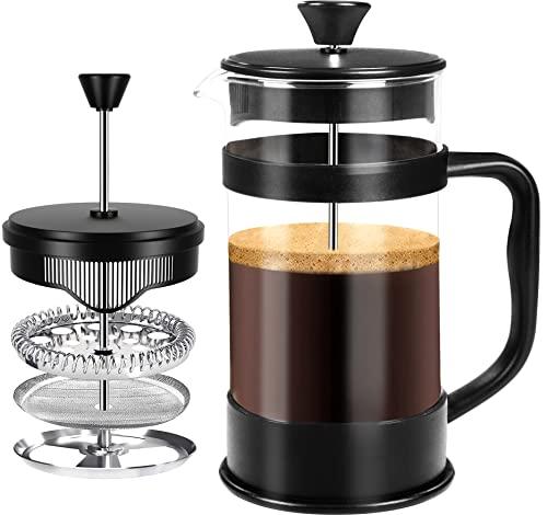 KICHLY - 1 litro / 1000 ml (8 tazze) Caffettiera a presso-filtro (French Press) - Espresso e teiera con filtri tripli - Vetro resistente al calore - Nero
