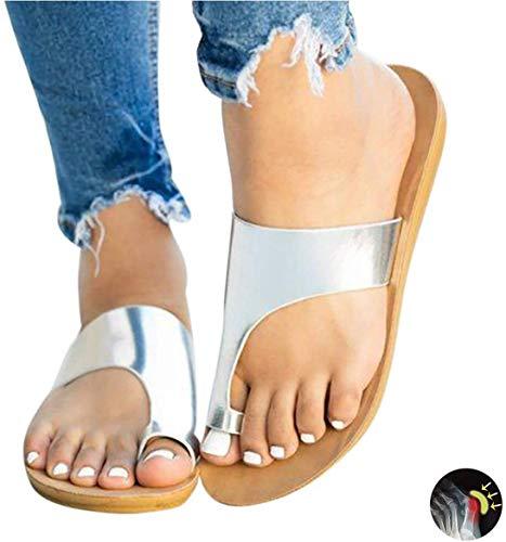 ASDF Sandalias de Mujer, Plataforma Plana de Moda de Verano para Mujer Interior y Exterior Chanclas de juanete Zapatillas de Alivio de Dolor Corrección de Hallux Valgus,Silver,39